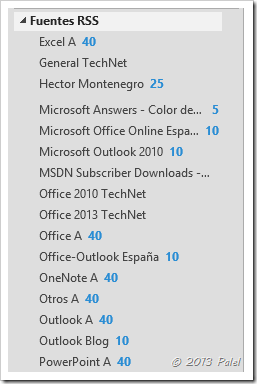 Fuentes RSS en Outlook 12
