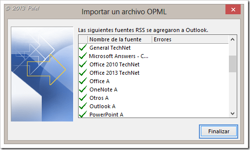 Fuentes RSS en Outlook 11