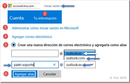 Creación de alias en las cuentas Microsoft