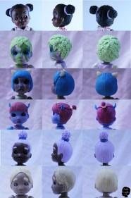 Cabelos já feitos em outras bonecas Estela