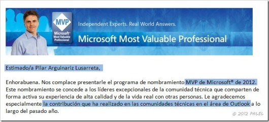 Nombramiento MVP 2012 - PALEL - Outlook