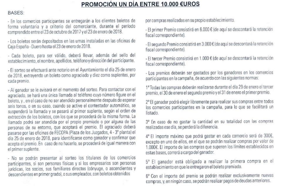 Bases 1 día entre 10000€ – 2017