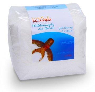 123Salz -Mittelmeersalz, Meersalz aus Italien, 1kg Vorratsbeutel -