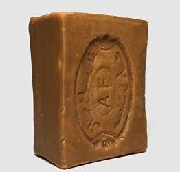 190 g Hochwertige Original Aleppo-Seife Handgeschnitten| 40% Lorbeeröl & 60% Olivenöl ,geeignet für Gesicht|Körper|Haarwäsche|Rasur, 100% Natur, Vegan | Natur - 1