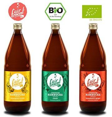 3 Liter Original Bio Kombucha Tee Getränk natürlich fermentiert und nicht pasteurisiert / Rohkost (3er Mix) - 1
