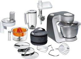 Bosch Styline MUM56340 Küchenmaschine (900 W, edelstahl-Rührschüssel, Durchlaufschnitzler, Rühr-Schlagbesen und weiteres Zubehör) silber - 1
