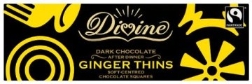 Divine Chocolate – Dark Chocolate After Dinner Ginger Thins – 200g -