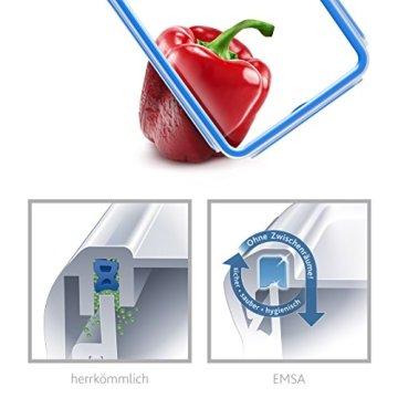 Emsa 508545 Rechteckige Frischhaltedose mit Deckel, 2.6 Liter, Transparent/Blau, Clip & Close - 4