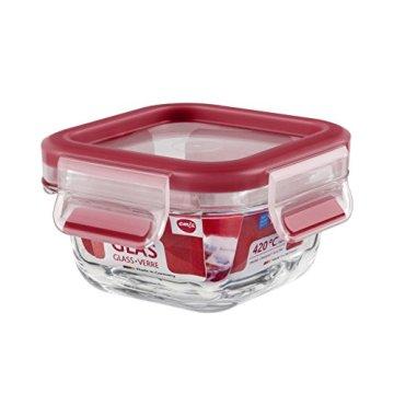 Emsa 513917 Frischhaltedose mit Deckel, Glas, Quadratisch, Volumen 0,2 Liter, Transparent/Rot, Clip & Close - 1