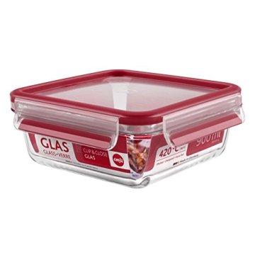 Emsa 513919 Frischhaltedose mit Deckel, Glas, Quadratisch, Volumen 0,9 Liter, Transparent/Rot, Clip & Close - 1