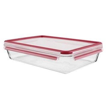 Emsa 513922 Frischhaltedose mit Deckel, Glas, Rechteckig, Volumen 3 Liter, Transparent/Rot, Clip & Close - 2
