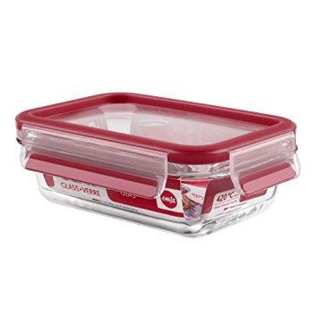 Emsa 514169 3-teiliges Frischhaltedosenset mit Deckel, Glas, Volumen 0.2, 0.5 und 1.3 Liter, Rot, Clip & Close - 4