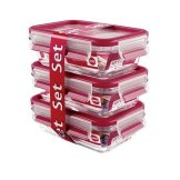 Emsa Clip & Close Glas 3-Teilig Frischhaltedosen Set 3 x 0, 5 Liter, Kunststoff, Rot, 17.5 x 12.5 x 17.8 cm, 3-Einheiten - 1