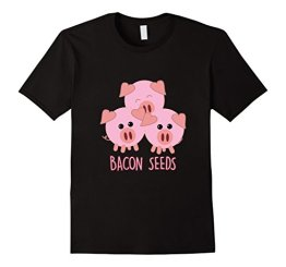 "Funny Paleo / Keto ""Bacon seeds"" three pigs T-shirt Herren, Größe S Schwarz - 1"