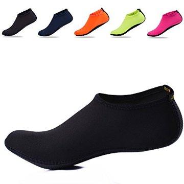 JACKSHIBO Herren Damen Barfuß Wasser Schuhe Unisex Aqua Shoes für Strand Schwimmen Surf Yoga Jungen Mädchen,Schwarz,Erwachsene XL - 2