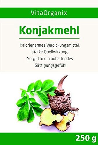 Konjakmehl Konjakwurzel getrocknet, gemahlen (Amorphophallus konjac, Teufelszunge), 250g hohe Quellfähigkeit / Viskosität 36000 cps - Selbst Konjaknudeln machen! - Glutenfrei - Vegan - 1