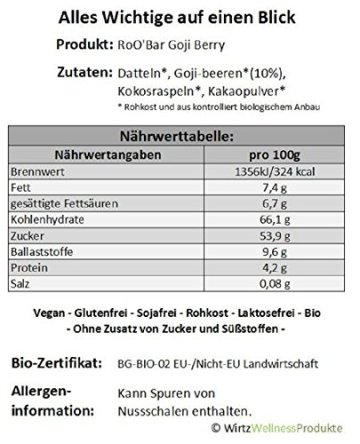 ROO'BAR Goji Berry - 20 Stück (20x 30g) - Rohkost-Riegel mit Superfoods (bio, vegan, glutenfrei, roh) - 3