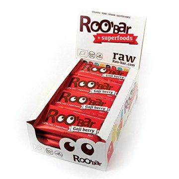 ROO'BAR Goji Berry - 20 Stück (20x 30g) - Rohkost-Riegel mit Superfoods (bio, vegan, glutenfrei, roh) - 1