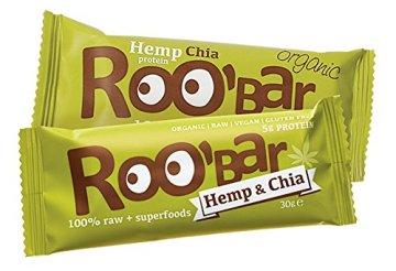 ROO'BAR Hanfprotein & Chia – 20 Stück (20x 30g) – Rohkost-Riegel mit Superfoods (bio, vegan, glutenfrei, roh) -