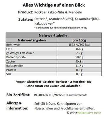 ROO'BAR Kakao-Nibs & Mandeln - 20 Stück (20x 30g) - Rohkost-Riegel mit Superfoods (bio, vegan, glutenfrei, roh) - 3