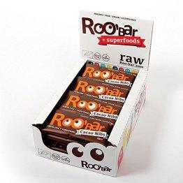 ROO'BAR Kakao-Nibs & Mandeln - 20 Stück (20x 30g) - Rohkost-Riegel mit Superfoods (bio, vegan, glutenfrei, roh) - 1