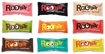 ROO'BAR Rohkost Riegel mit Superfoods 30g x 9 Stück (bio, vegan, roh) Set 9 Sorten (9x30g) -