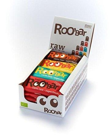 ROO'BAR Super Mix - 16 Stück á 50g (4x Goji Berry, 4x Cacao Nibs, 4x Maca Cranberry, 4x Chia Coconut) - Rohkost-Riegel mit Superfoods (bio, vegan, glutenfrei, roh) - 1