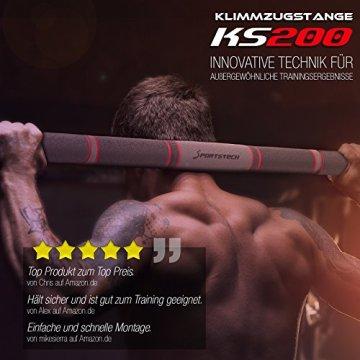 TESTSIEGER 2017* Klimmzugstange mit patentiertem hexagonalem System von Sportstech KS200 (Schwarz)-103 cm - 2