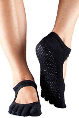 ToeSox Frauen 1 Paar Bella Voll Toe Organic Cotton vorne offen Yoga Socks In Fuchsia, Black, Small - 1