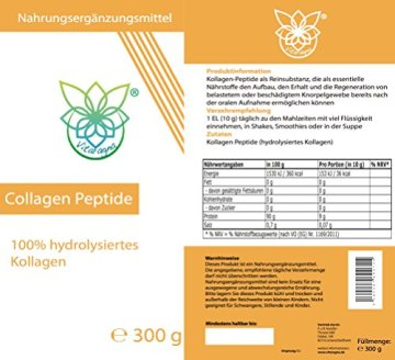 VITARAGNA Collagen Peptide Protein Pulver, 100% reines Kollagen Hydrolysat, Lift Drink, 300 g hydrolysiertes Kollagen ohne Zusätze, Gut für das Bindegewebe - 2