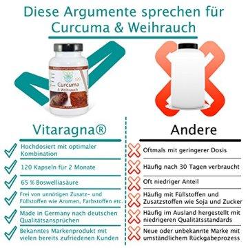 VITARAGNA Curcuma und Weihrauch 120 Kapseln Qualitätsprodukt mit Kurkuma-Extrakt und Weihrauch-Extrakt, Kurkuma Kapseln - 3