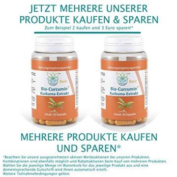 VITARAGNA Curcumin Basic Plus, 30 Kurkuma Kapseln hochdosiert mit Kurkuma-Extrakt, BioPerine, Ingwer-Extrakt, Hochdosiertes Curcuma Bioperin (Schwarzer-Pfeffer), starkes natürliches Antioxidans - 5