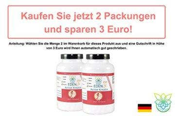 VITARAGNA Eden Active Kreatin Plus 250 Kapseln, reines, hochwertiges Creatin Monohydrat bzw. Creatine Monohydrate, Kraftsteigerung & Muskelaufbau, clean - 5