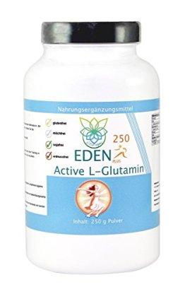 VITARAGNA Eden Active L-Glutamin Plus 250, Vegan, Glutamin Pulver Pur hochdosiert, Premium Aminosäure für pure Kraft, Ausdauer, Muskel und Pump Aufbau - 1