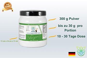 VITARAGNA Eden Active Vegan Protein Power Shake Schoko 300 Pulver, mit Vitamin-B12, Vitamin-D3, Hanfprotein und OPC Fruchtpulver und Kakao ohne Koffein - 4