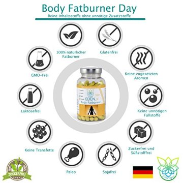 VITARAGNA Eden Body Fatburner Day 120 Kapseln, Fettverbrenner Diät Pillen bzw Abnehm-Pillen, Unterstützung zum natürlich abnehmen, auch bei Bauchfett - 5