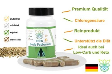 VITARAGNA Eden Body Fatburner Grüner Kaffee Extrakt 60 Kapseln, 500 mg, 50% Chlorogensäure, Green-Coffee Fettverbrenner Diät-Pillen, Abnehm-Pillen zum natürlich abnehmen auch bei Bauchfett - 3