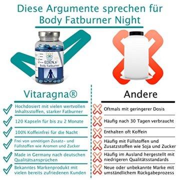 VITARAGNA Eden Body Fatburner Night 120 Kapseln ohne Koffein, Fettverbrenner Diät-Pillen bzw. Abnehm-Pillen, im Schlaf natürlich abnehmen auch bei Bauchfett - 3