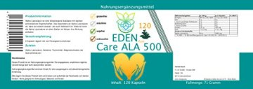VITARAGNA Eden Care ALA Alpha-Liponsäure Plus 120 Kapseln Plus, hochdosiert mit 500 mg pro Kapsel, Antioxidantien, Anti-Aging & Fatburner für Mann und Frau - 2