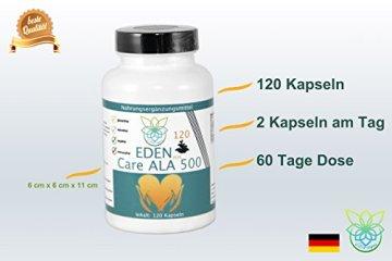 VITARAGNA Eden Care ALA Alpha-Liponsäure Plus 120 Kapseln Plus, hochdosiert mit 500 mg pro Kapsel, Antioxidantien, Anti-Aging & Fatburner für Mann und Frau - 4