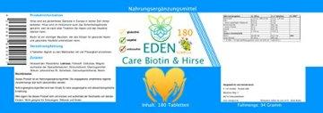 VITARAGNA Eden Care Biotin Komplex 180 Tabletten mit Hirse und Biotin für eine gesunde Hautpflege & Haarpflege, Haut-Vitalstoffe & Haar-Vitamine als Haar-Kur, hochdosiert - 2