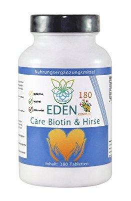 VITARAGNA Eden Care Biotin Komplex 180 Tabletten mit Hirse und Biotin für eine gesunde Hautpflege & Haarpflege, Haut-Vitalstoffe & Haar-Vitamine als Haar-Kur, hochdosiert - 1