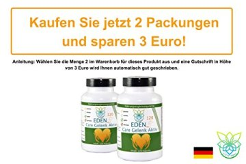 VITARAGNA Eden Care Gelenk Aktiv Pro 120 Kapseln Complex Gelenkskur, Regeneration der Gelenke mit Glucosamin-Sulfat, Gelatine, Kurkuma / Curcumin uvm, hochdosiert - 5