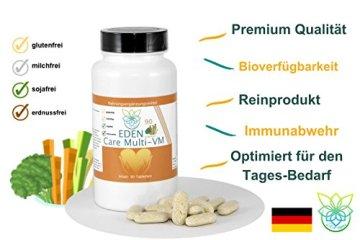 VITARAGNA Eden Care Multi-VM Komplex 90 Tabletten, Tagesdosis Multivitamine & Mineralstoffe, vegan, 3-Monatsration, B Komplex hochdosiert + Magnesium, Zink und Vitamin-D - 3