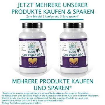 VITARAGNA Eden Care Vegan OPC Traubenkernextrakt Kapseln Forte mit 95% OPC-Gehalt und 700mg hochdosiertes OPC pro Portion, 120 vegane OPC-Kapseln OHNE Magnesiumstearat, 2 Monatsvorrat - 5