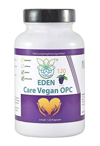 VITARAGNA Eden Care Vegan OPC Traubenkernextrakt Kapseln Forte mit 95% OPC-Gehalt und 700mg hochdosiertes OPC pro Portion, 120 vegane OPC-Kapseln OHNE Magnesiumstearat, 2 Monatsvorrat - 1