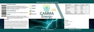 VITARAGNA Gamma Energy Guarana + Koffein 100 Kapseln, Energie-Booster für mehr Wachheit, Aufmerksamkeit, Leistung, Fokus und Aktivität. Energybooster pur, clean - 2