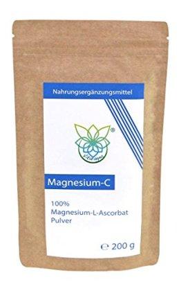 VITARAGNA Magnesium-C Pulver, Magnesium-Ascorbat als Reinsubstanz, Vitamin-C in Pulverform als leicht lösliches, 200 g gepuffertes Magnesiumascorbat - 1