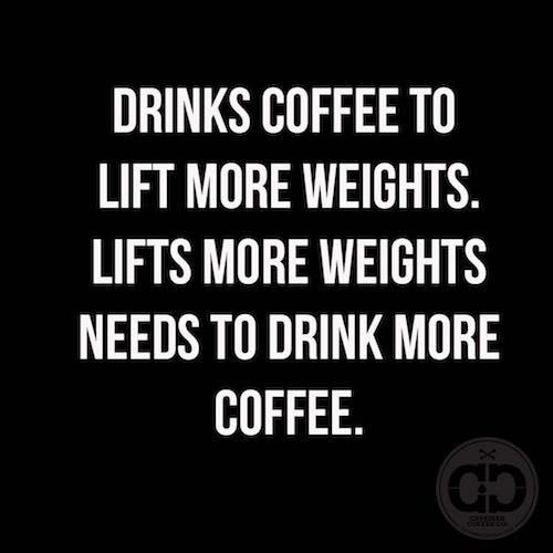 Drinks Coffee to lift weights - Caveman Coffee Co. - Certified Paleo - Paleo Foundation