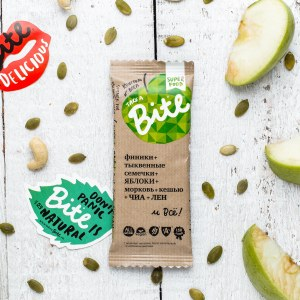 Take a Bite Apple - BioFoodLab - Bite Bar is 100% raw nut and fruit bar from Russia made by BioFoodLab company. All the ingredients can be read, understood, and pronounced by everyone. Made from 100% natural ingredients. No use of chemical additives. #certifiedpaleo #paleo